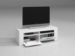 Habitdesign (006621BO - Mueble de Comedor Moderno, Color Blanco Brillo, Dimensiones 120 cm de Ancho x 42 cm de Profundidad x 40 cm de Altura