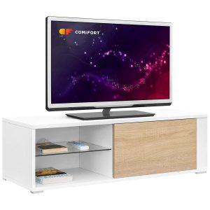 Comifort TV80BS – Mueble TV Salón Moderno Mesa Televisión, Colores: Blanco, Madera De Roble, Blanco/Roble, 100x36x32 Cm (Blanco/Roble)