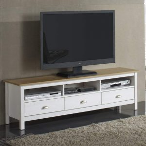 VS Venta-stock Mueble TV Bora Bora 3 Cajones, Madera Maciza, Color Blanco capado